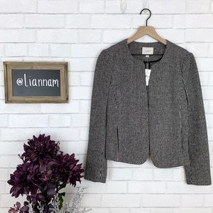 LOFT Vertical Stripe Open Front Wool Blend Blazer